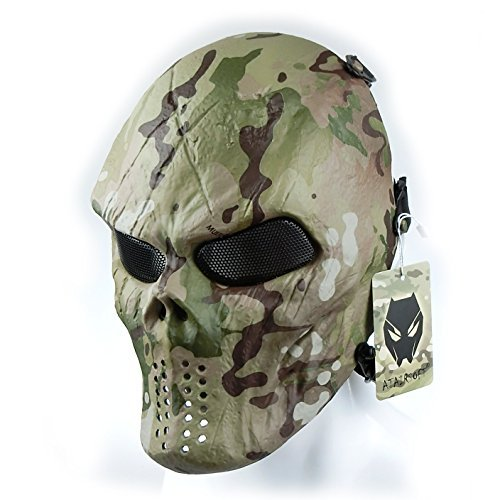 ATAIRSOFT Airsoft Paintball Hockey Cosplay Metal Mesh Eye BB Protect Full Face Mask Multicam CP MC (Face Paint Multicam)