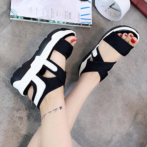 Transer® Ladies Breathable Sport Shoes Wedges Sandals- Women Summer Comfortable Platform Shoes Black Vgxxgs