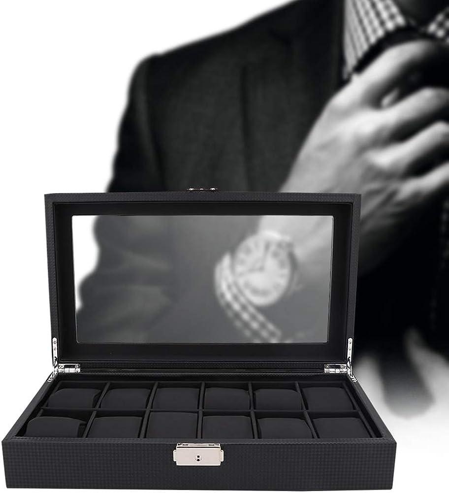 AYNEFY Relojes Caja con 12 Compartimentos, Relojes Organizador de Vitrina de Caja de Cuero Almacenamiento de Joyas con Cierre Metálico Caja a Prueba de Golpes Joyero de Cuero Negro