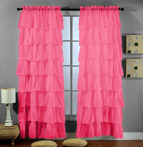 2 Piece Set -Solid HOT PINK (FUCHSIA) Gypsy - Shabby Chic Pink Curtains