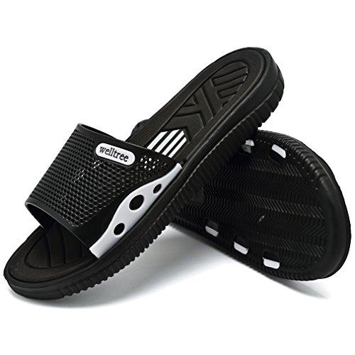 welltree Men's Slide Slipper Shower/Pool / Beach/Garden Quick Drying Sandal 7 D(M) US Men / 40 Black by welltree (Image #1)