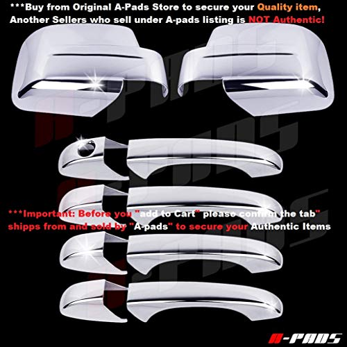 (A-PADS Chrome Covers Set for Jeep PATRIOT 2008-2012 - Full Mirrors + 4 Door Handles, WITHOUT Passenger Keyhole )