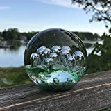 The Emerald Green Dynamic Bubbles, Paperweight, Handcrafted Art Glass, 3 1/2 D x 3 1/2 H Inches, By Whole House Worlds