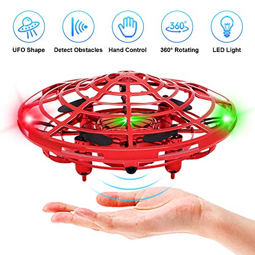 Flying Toys Drones for Kids, Flying Ball Drone Toy with Infrared Sensor Auto-Avoid Obstacles 360°Rotating LED Light, Mini Quadcopter Hand Operated Drones for Boys and Girls