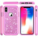 iPhone Xs Case, iPhone X Hybrid Rugged Heavy Duty Shock AbsorbtionDropResistant Full Body Dual Layers Shockproof Soft TPU Bumper Hard PC Shell Bling Shiny Glitter Diamonds 2 in 1 Cover iPhone Xs