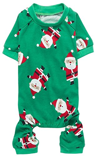 Cute Santa Claus Pet Clothes Christmas Dog Pajamas Shirts, Green, Back Length 12