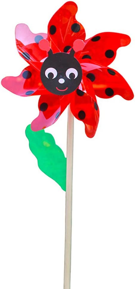 NINGYE 1pc Colorful Bee Windmill Wooden Handle Wind Spinner Pinwheels Home Garden Yard Decoration Kids Toys
