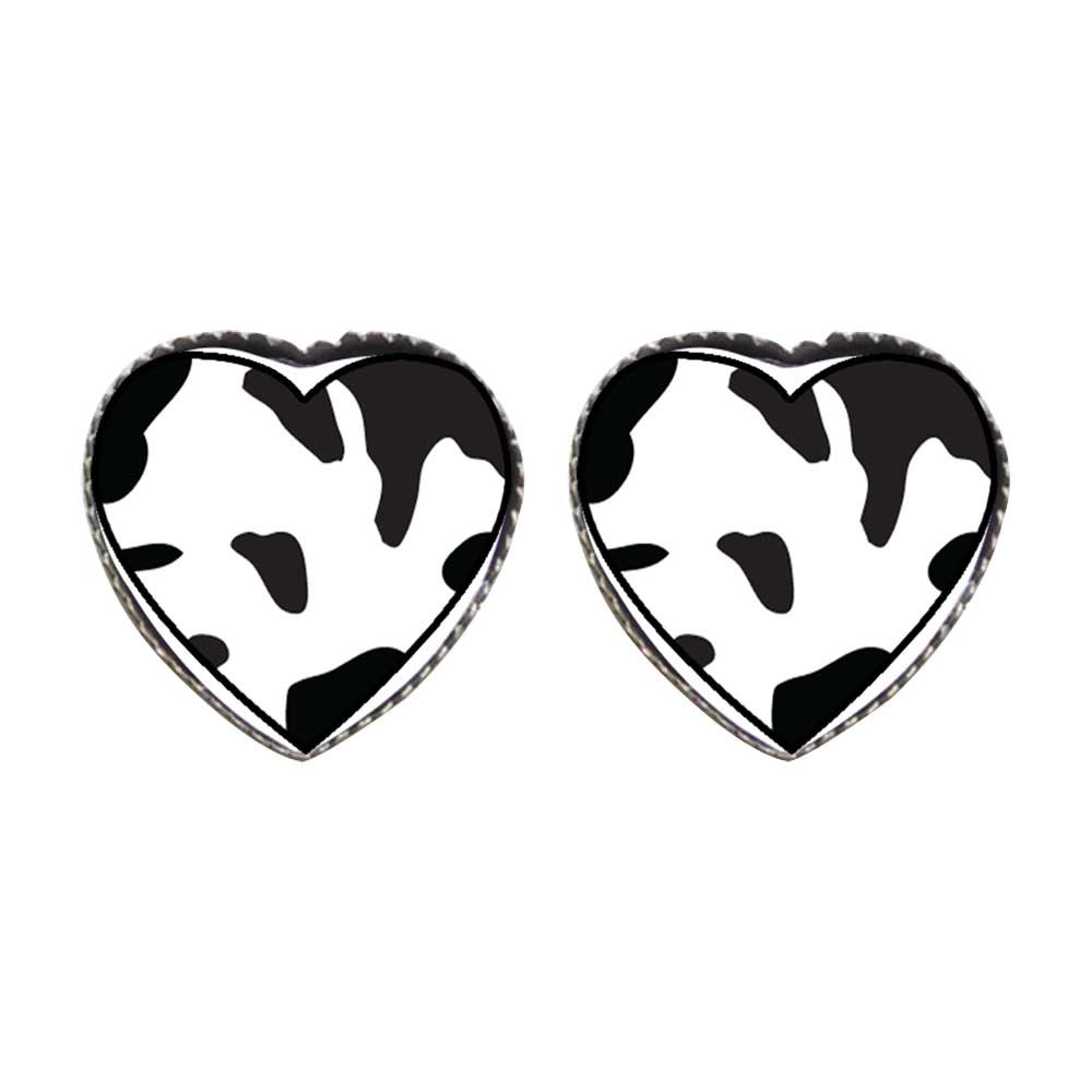 GiftJewelryShop Bronze Retro Style Cow Skin Photo Stud Heart Earrings #12