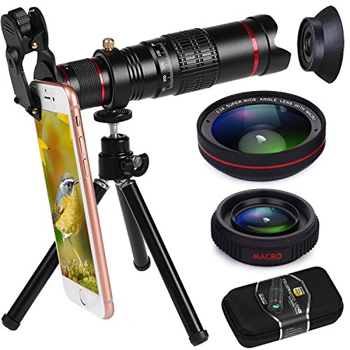 Phone Camera Lens, Bhuato Upgraded 22X Zoom Telephoto Lens + 0.5 Wide-Angle Lens + 15X Macro Lens + Tripod + Carrying Case for iPhone X/8/7/7 Plus/6/6s, Samsung Galaxy S8/S7/S6, and Most Smartphones by Bhuato