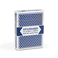 Single Blue Deck, Wide Size, Jumbo-Index, Plastic-Coated Playing Cards by Brybelly