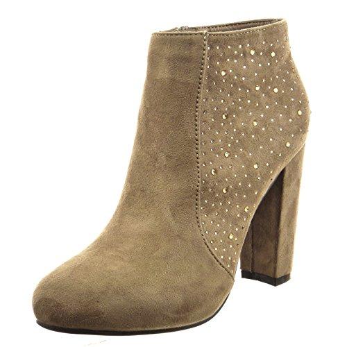 Sopily - Sapatos Da Moda Botas Femininas Botas De Strass Taupe
