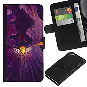 TORNADOCOVER (No Para IPHONE 6 PLUS) Diseño Trasera Imagen Cuero Voltear Tarjeta Ranura Duro Funda Negro Borde Carcasa Case Cover Skin para Smartphone Apple Iphone 6 4.7 - iris flor de la pintura en el interior de color púrpura