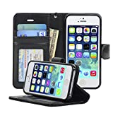 Navor Flip Wallet Book Case [Removable Wrist Strap] [Kickstand] for iPhone 5 / 5S / SE - Black (IP5OBK)