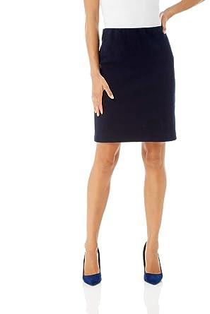 637135ffda Roman Originals Women Short Textured Skirt - Ladies Stretch Waist 65% Cotton  Plain Jersey Business