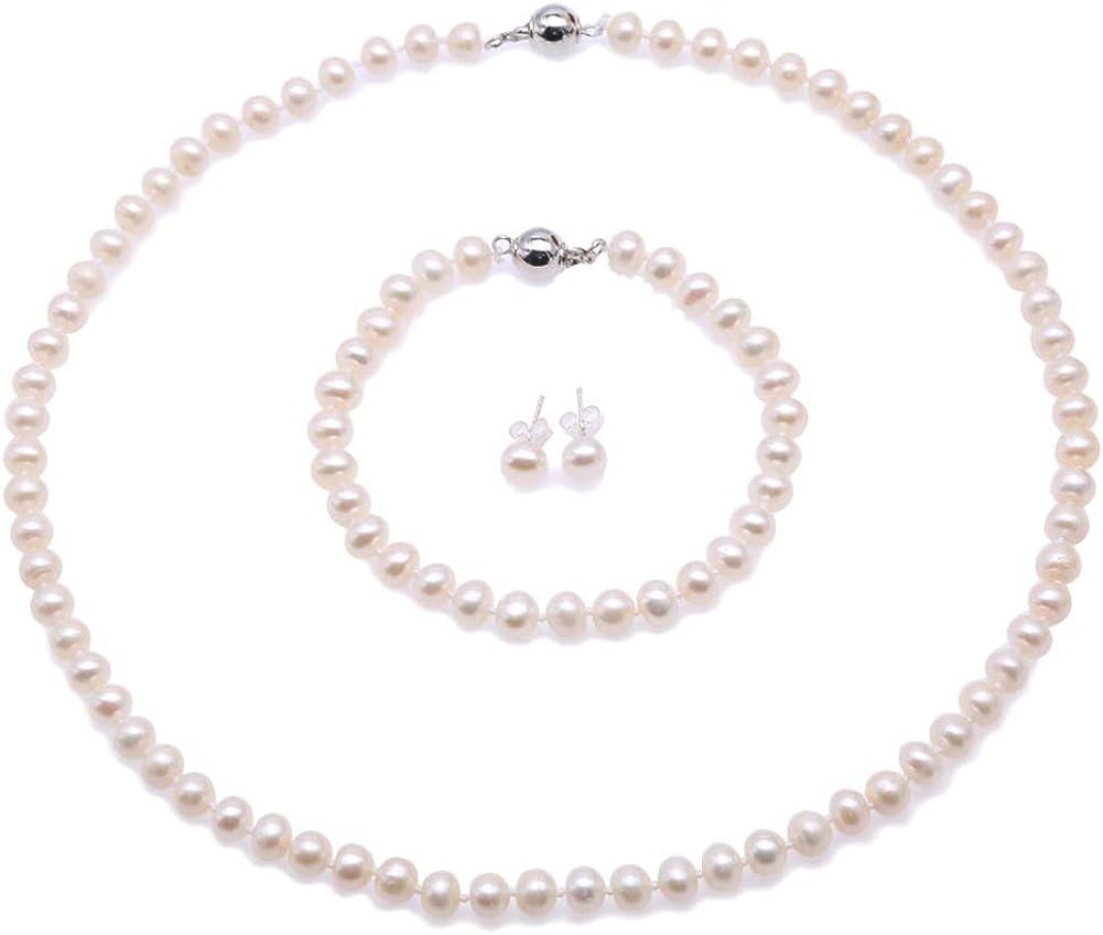 JYX Collar, conjunto de aretes y aretes de perlas de agua dulce blanca - Conjunto de bisutería para mujer - Calidad AA (perla redonda y plana de 5-6 mm)