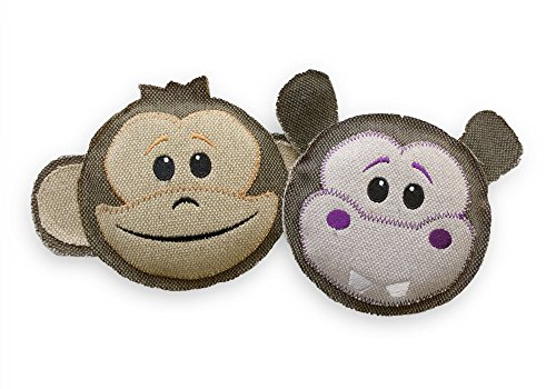 Thread Heads 2 Pack Bundle, Stuffingless Canvas Squeaky Dog Toy for Large and Small Dogs, No Stuffing, Giant Squeaker Inside - Fetch Pet Products