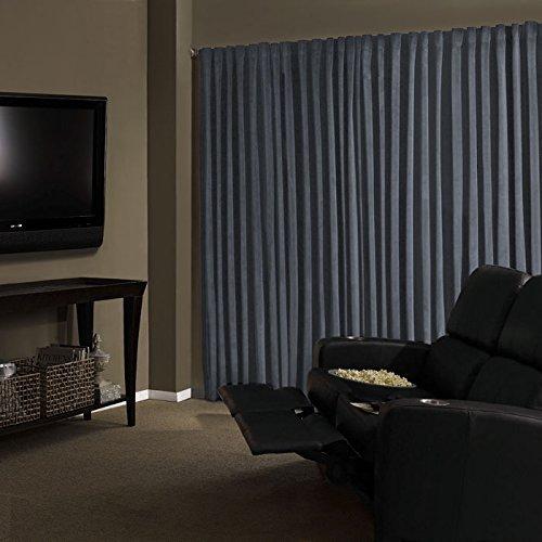 Absolute Zero Total Blackout Stone Blue Faux Velvet Curtain Panel, 95 in. Length