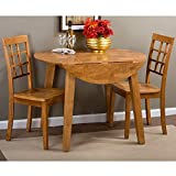 Jofran Simplicity Round Wood Dropleaf Dining Table in Honey For Sale