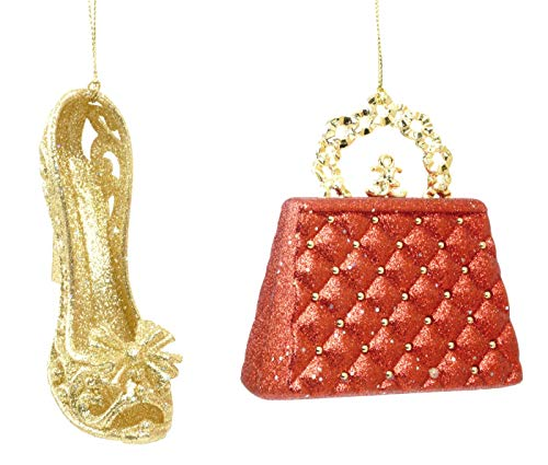 Glittery Purse and Heel Hanging Christmas Ornament ()