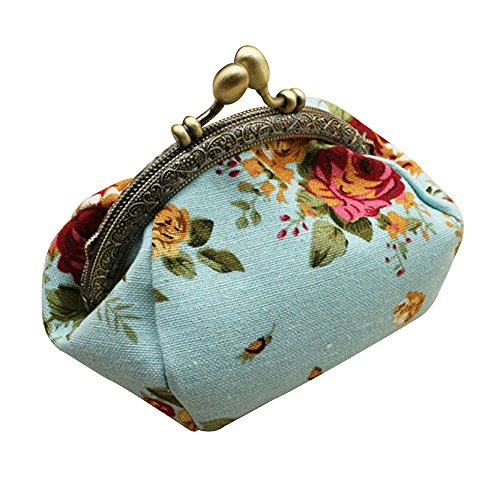 HebeTop ◕‿◕ Girls Floral Slim Wallet Kiss-Lock Change Pocket Casual Coin Purse for Ladies Clutch Bag Blue