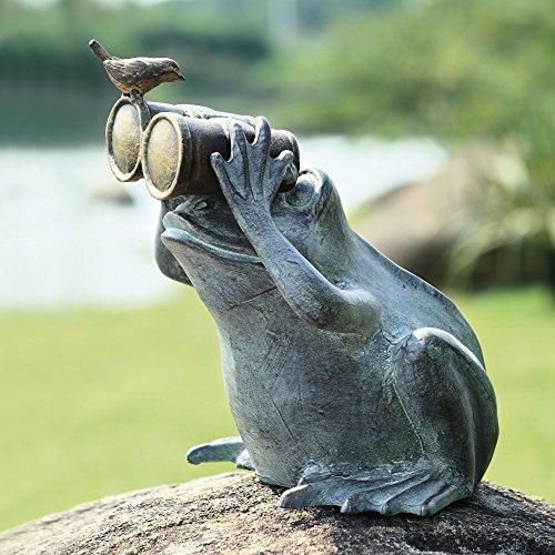 Gifts & Decor Verdi Green Aluminum Bluebird Buddy Frog With Binoculars Garden Statue 13.5