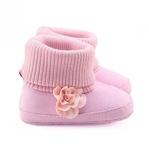 Clode® Kleinkind Neugeborene Baby Mädchen Jungen Winter warm Blume Krippe Schnee Stiefel Prewalker Schuhe Rosa