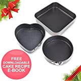 "Christmas Gift Springcake | 3 Pcs Premium Nonstick Bakeware Springform Pan | Leakproof Carbon Coated Steel Waffle Textured Bottom with 10"" Square 9.8"" Round 8.6"" Heart Shaped Kitchen Cooking Cake Pan"