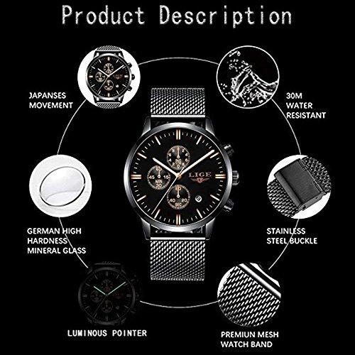 Relojes Hombre Marca de lujo lige resistente al agua deporte reloj analógico de cuarzo hombres acero inoxidable Malla Business Fashion Muñeco de reloj de ...