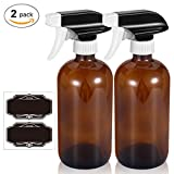 Olilia 16 oz Amber Glass Spray Bottles With Mist and Stream Settings Sprayer Top, Chalkboard Labels