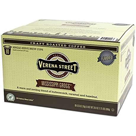 Verena Street Single Cup Pods 80 Count Flavored Coffee Mississippi Grogg Rainforest Alliance Certified Arabica Coffee Compatible With Keurig K Cup Brewers