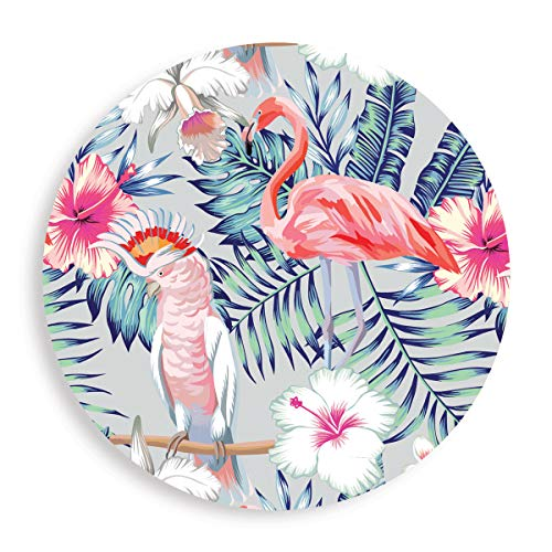 (Flamingo - Absorbent Stone Coasters for Drinks 4 inch (10cm) Set of 4 - Large Modern Round Natural Ceramic Water Absorb Spill Coaster with Non-slip Cork Backing for Mugs and)