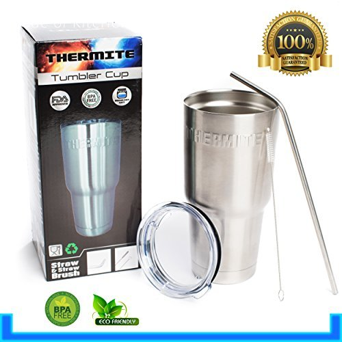 Premium Stainless Steel Tumbler with Lid, Straw & Cleaning Brush, 30 oz, Travel Insulated Coffee Mug, Keeps Hot Liquids Hot & Cold Liquids Cold, Spill Proof Technology, Antibacterial