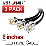 (3 Pack) 6 Inch Short Telephone Cable RJ11 Male to Male, 6P4C Phone Line Cord (6 Inches, Black)