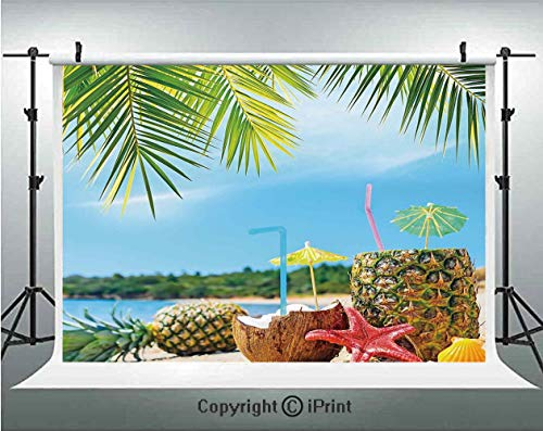 - Tropical Photography Backdrops Fresh Summer Fruits Coconut and Pineapple Drinks at Exotic Beach Palm Trees,Birthday Party Background Customized Microfiber Photo Studio Props,5x3ft,Blue Green Brown
