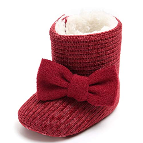 LIVEBOX Newborn Baby Cotton Knit Booties,Premium Soft Sole Bow Anti-Slip Warm Winter Infant Prewalker Toddler Snow Boots Crib Shoes for Girls Boys by LIVEBOX (Image #2)