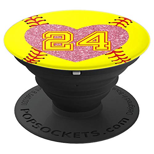 24 Softball Number Rose Pink Heart Gift Lucky #24 - Softball - PopSockets Grip and Stand for Phones and -
