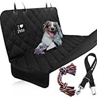 Starling's Luxury Dog Car Seat Covers for Backseat - New Design! Double Stitched, Hammock Style, Heavy Duty, Waterproof & Non-Slip -W/Pet Car Seat Belt & a Dog Toy, for Car & SUV!