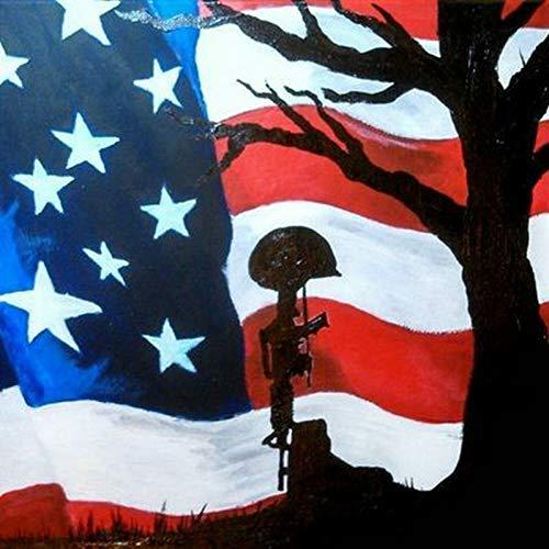 RONGANGT 5D Diamond Painting USA Flag Patriot Full Square Drill Diamond Embroidery Rhinestone Artwork Diamond Mosaic Landscape-60x90cm(23.6x35.4inch)