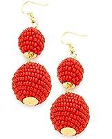 Women's Double Thread Mini Beaded Ball Lantern Dangle Pierced Earrings