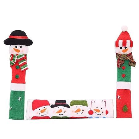 OldPAPA 3Pcs Natale Elettrodomestico Coprimaniglie Frigorifero Coprivetro Maniglia Forno a microonde Lavastoviglie per elettrodomestici Cucina Decor A