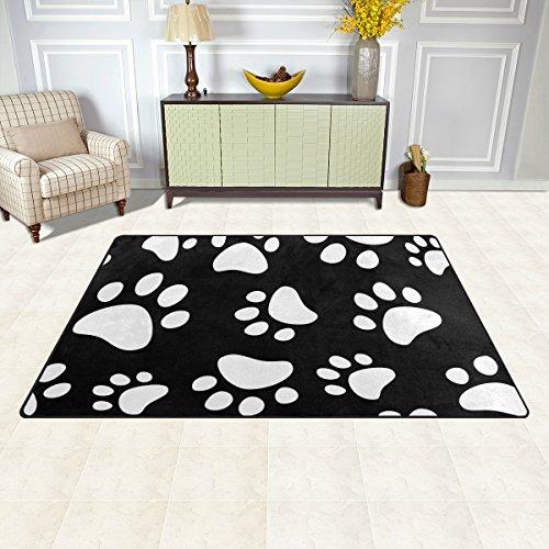 DEYYA Dog Cat Paw Non-slip Area Rugs Pad 60 x 39 inches, Modern Floor Mat Living Room Bedroom Carpets Doormats Home Decor