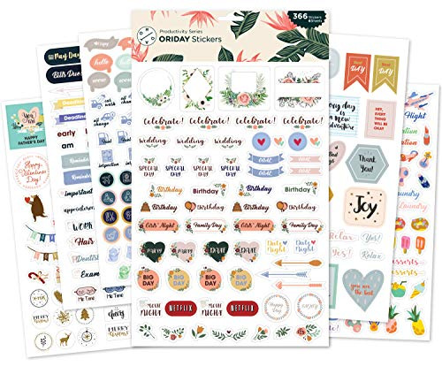 Bill Sticker - Oriday, Monthly Calendar Planner Stickers 6 Sheets, Set of 391 Stickers for Daily Life Productivity