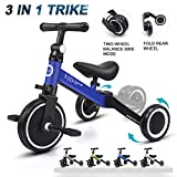 XJD 3 in 1 Kids Tricycles for 1.5-5 Years Old Kids Trike 3 Wheel Bike Boys Girls 3 Wheels Toddler Tricycles Upgrade 2.0 (White)