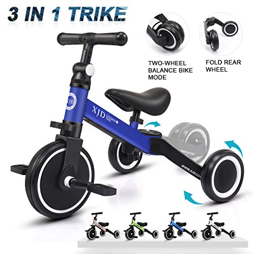 XJD 3 in 1 Kids Tricycles for 1.5-5 Years Old Kids Trike 3 Wheel Bike Boys Girls 3 Wheels Toddler Tricycles Upgrade 2.0 (Blue) (Boys Bike Blue)
