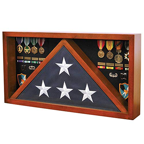 Medals-of-America-Rectangle-Combo-Flag-Case-for-5-x-9-Veterans-Burial-Flag-and-Medals-Cherry