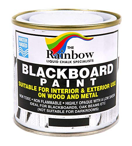 Chalkboard Blackboard Paint - Brush on Wood, Metal, Glass, Wall, Plaster Boards Sign, Frame or Any Surface. Use with Chalk Pen Wet Erase, Safe and Non-Toxic. Matte Finish - Black 8.5oz - Up to 100sf