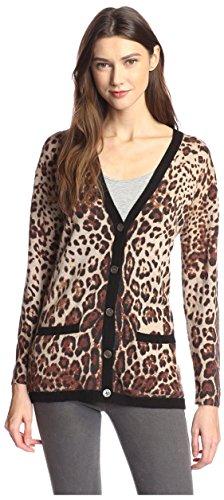 James & Erin Women's Cashmere Leopard Cardigan, Natural Multi, L by James & Erin (Image #1)