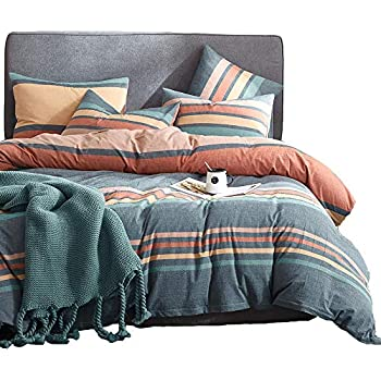 100/% Washed Cotton Ultra Soft Hypoallergenic Breathable Anti Faded 3 Pcs Bedding Set with Corner Ties and Zipper Closure Suitable for Deep Sleeping Arachnes Needle King Duvet Cover Set Dark Grey