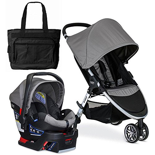 Britax 2017 B-Agile 3 / B-Safe 35 Travel System with Diaper Bag – Steel