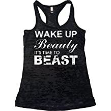 Orange Arrow Womens Workout Clothes - Wake up Beauty Time To Beast - Burnout Tank Top